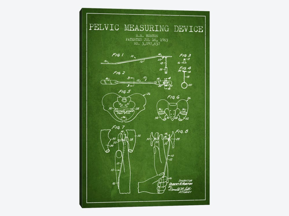 Pelvic Measuring Green Patent Blueprint 1-piece Canvas Art