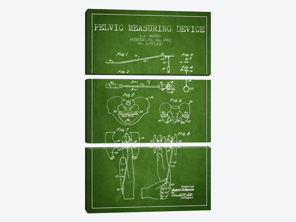 Pelvic Measuring Green Patent Blueprint by Aged Pixel 3-piece Canvas Art