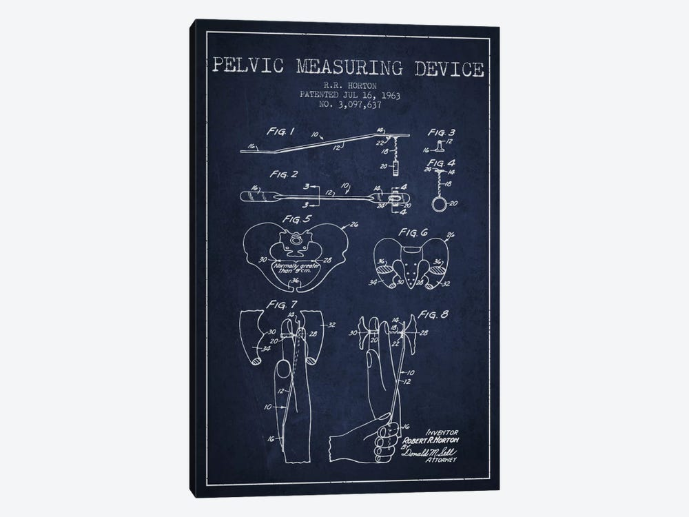 Pelvic Measuring Navy Blue Patent Blueprint 1-piece Art Print