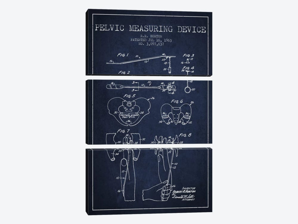 Pelvic Measuring Navy Blue Patent Blueprint 3-piece Canvas Art Print
