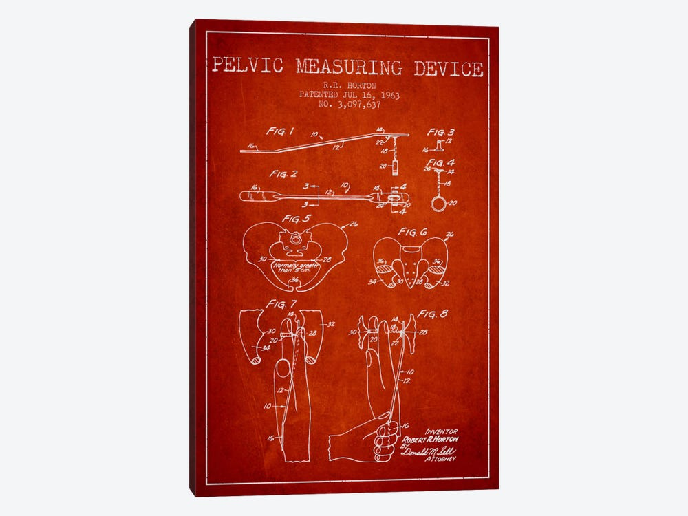Pelvic Measuring Red Patent Blueprint by Aged Pixel 1-piece Canvas Art