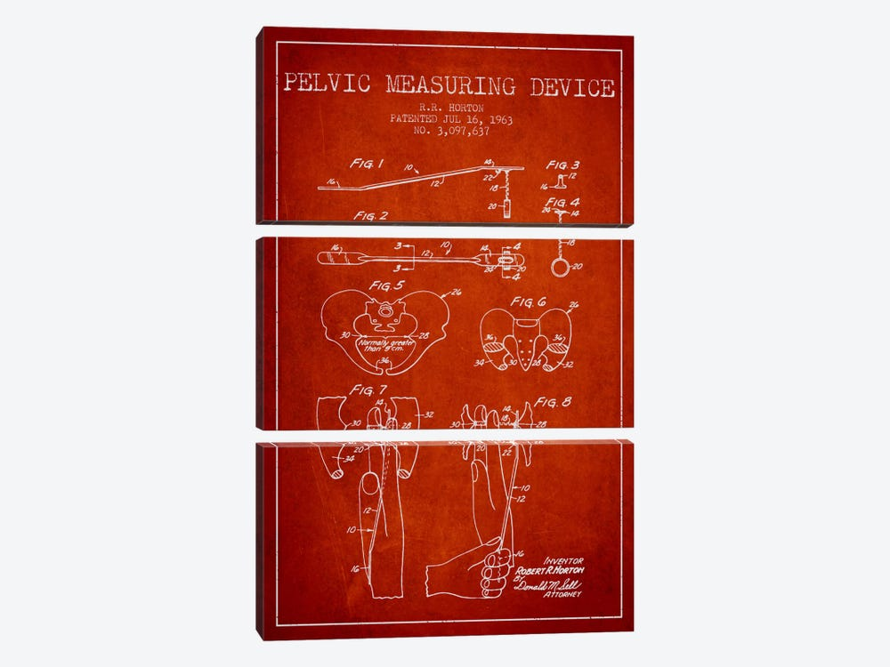 Pelvic Measuring Red Patent Blueprint by Aged Pixel 3-piece Canvas Art
