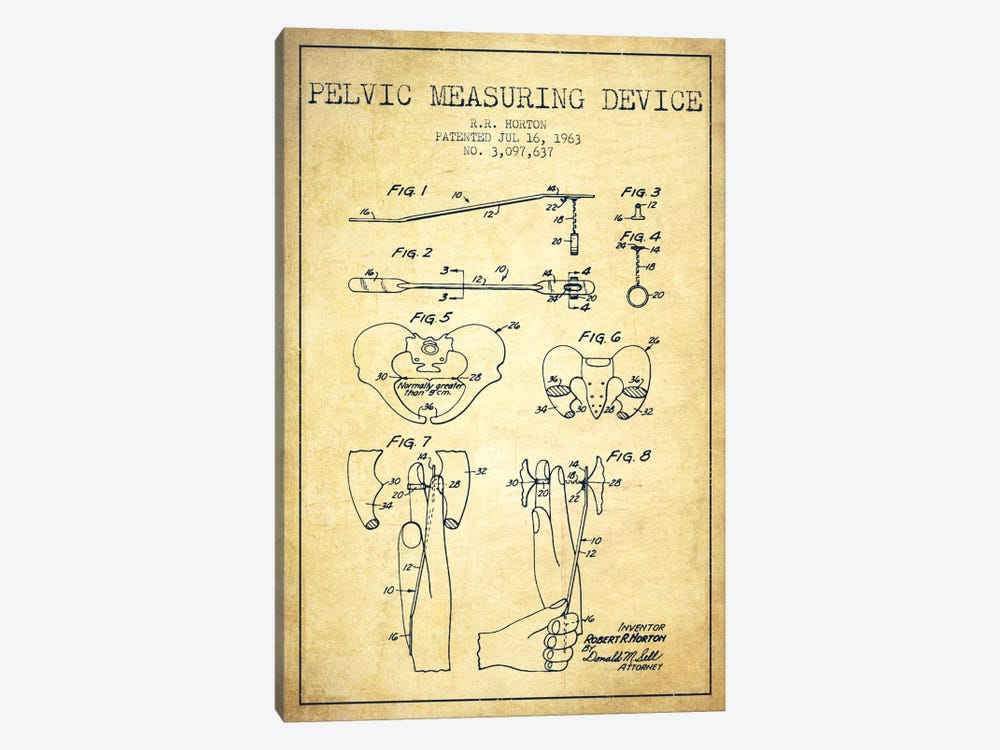 Pelvic Measuring Vintage Patent Blueprint by Aged Pixel 1-piece Canvas Art Print