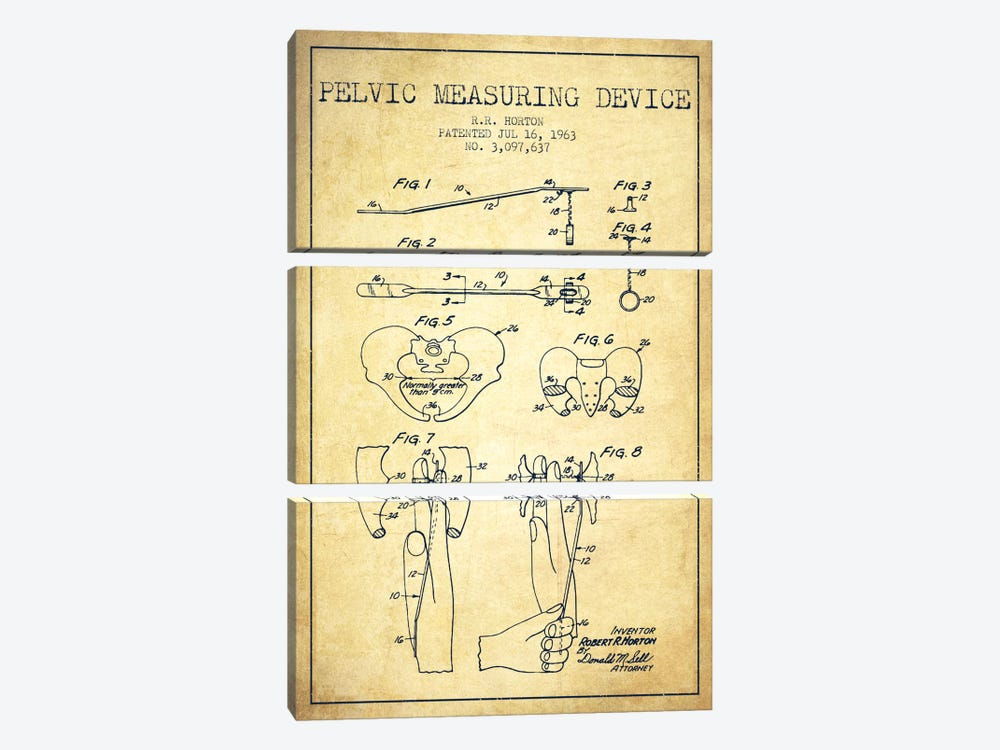 Pelvic Measuring Vintage Patent Blueprint by Aged Pixel 3-piece Canvas Print