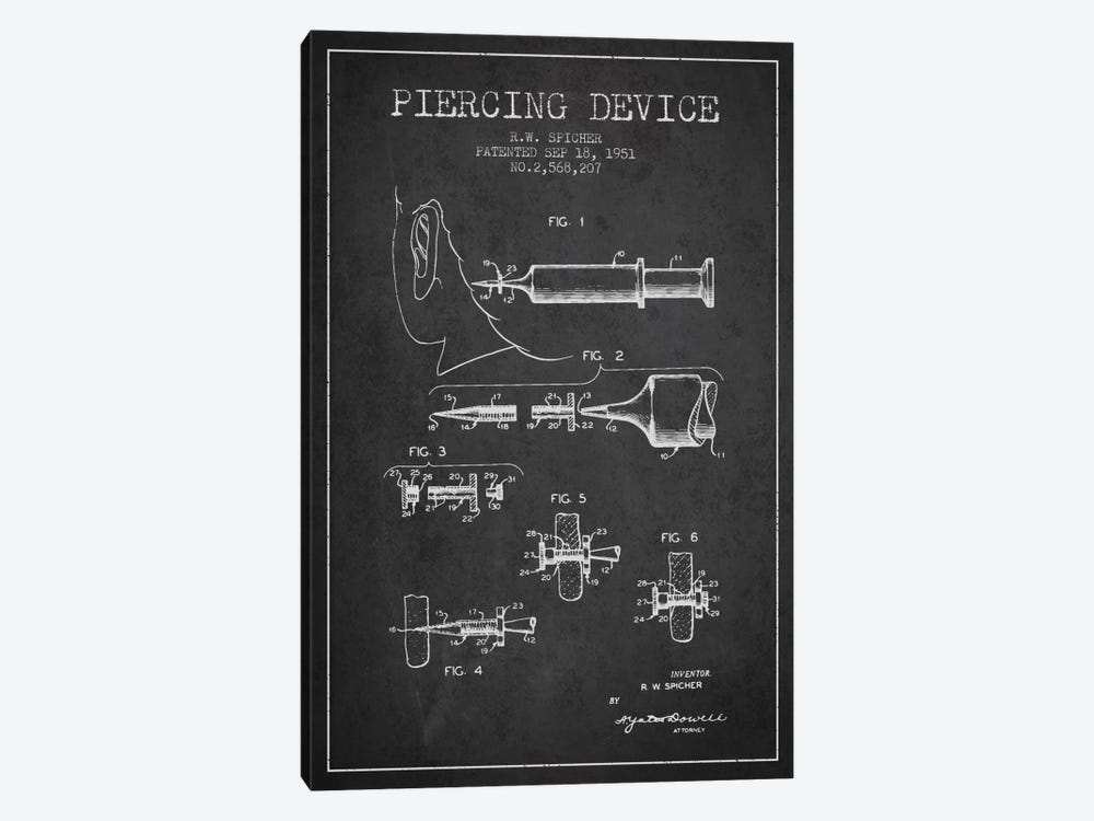 Piercing Device Charcoal Patent Blueprint by Aged Pixel 1-piece Canvas Art Print