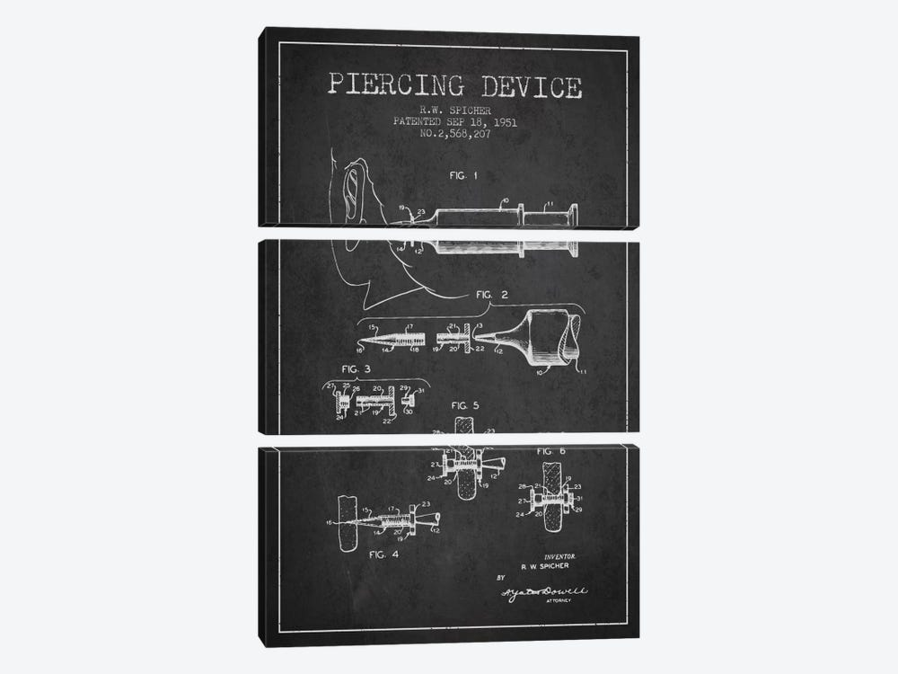 Piercing Device Charcoal Patent Blueprint by Aged Pixel 3-piece Art Print