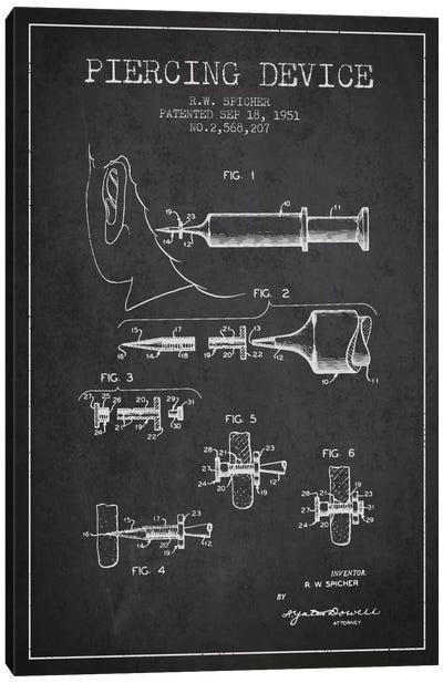 Piercing Device Charcoal Patent Blueprint Canvas Art Print