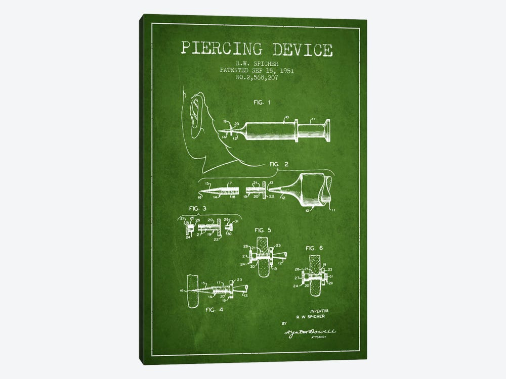 Piercing Device Green Patent Blueprint by Aged Pixel 1-piece Canvas Art