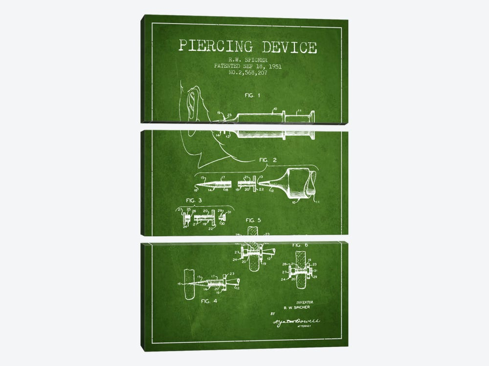 Piercing Device Green Patent Blueprint by Aged Pixel 3-piece Canvas Artwork