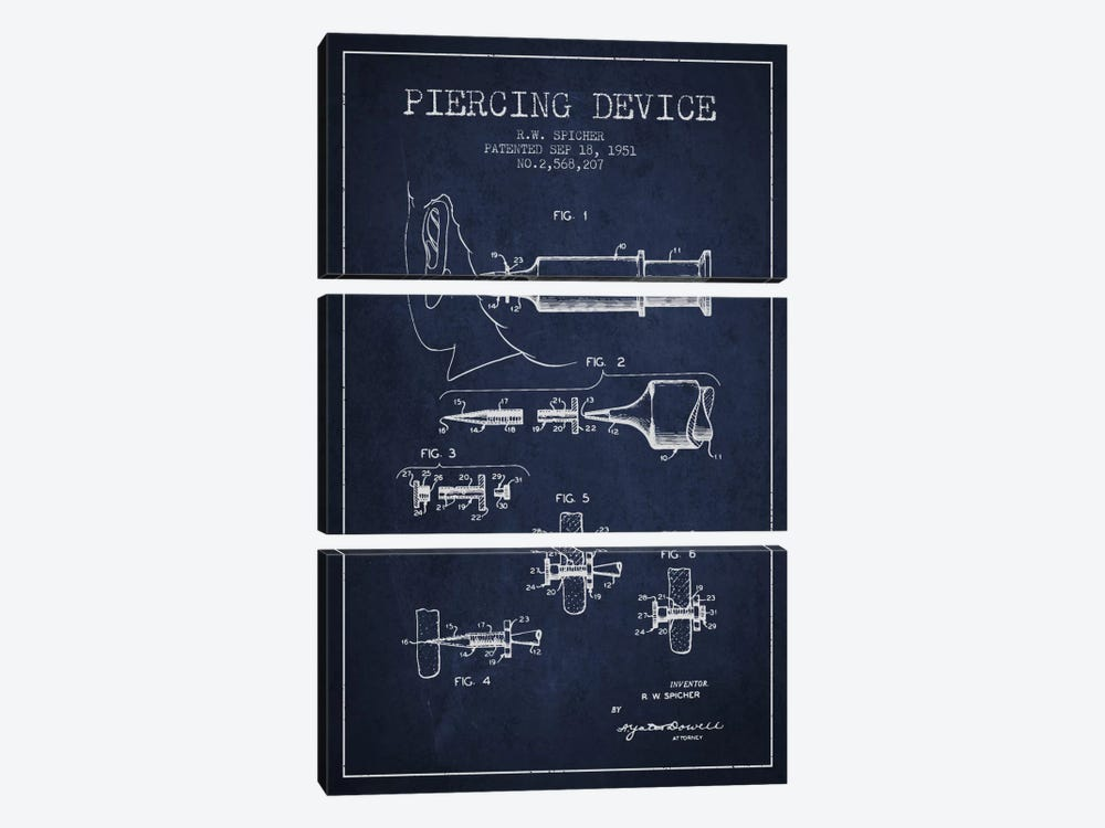 Piercing Device Navy Blue Patent Blueprint by Aged Pixel 3-piece Art Print