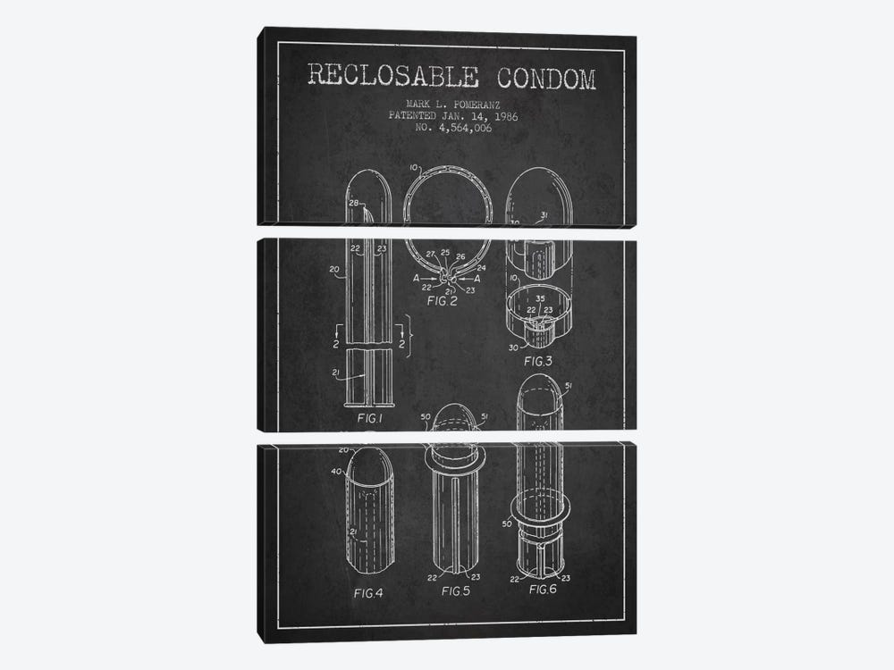 Reclosable Condom Charcoal Patent Blueprint 3-piece Canvas Wall Art