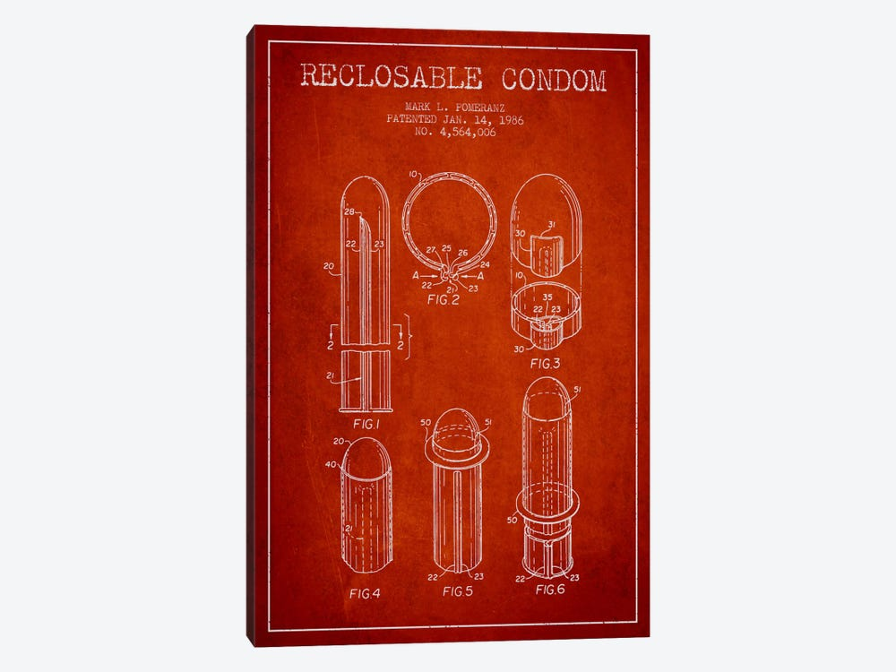 Reclosable Condom Red Patent Blueprint by Aged Pixel 1-piece Canvas Art Print