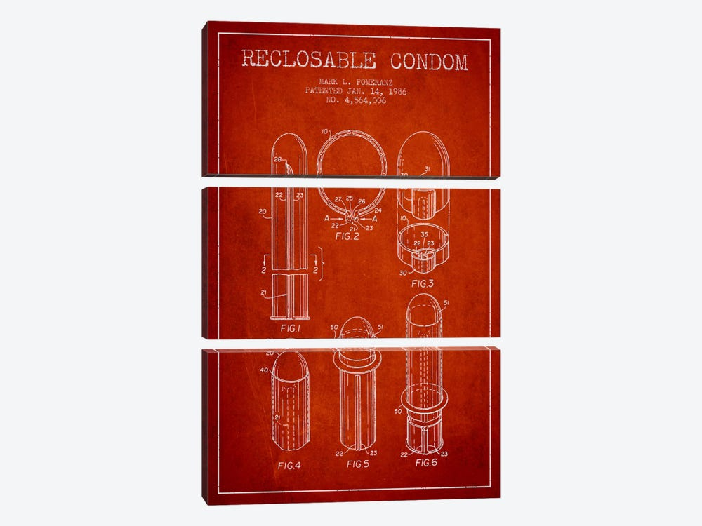 Reclosable Condom Red Patent Blueprint by Aged Pixel 3-piece Canvas Print