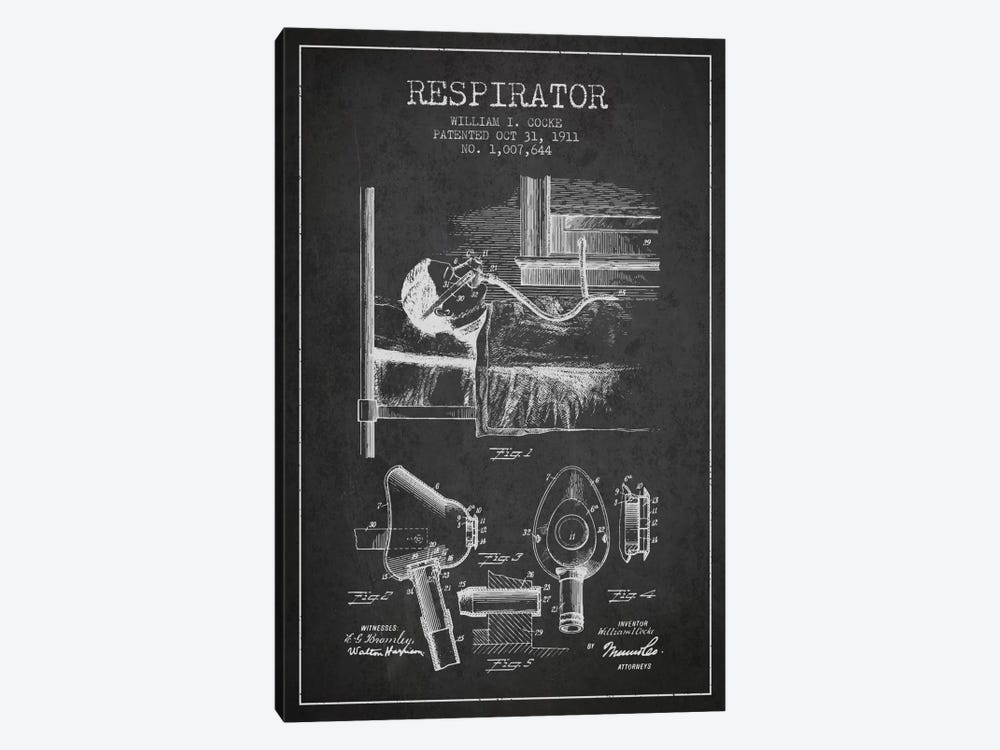 Respirator Charcoal Patent Blueprint by Aged Pixel 1-piece Canvas Artwork