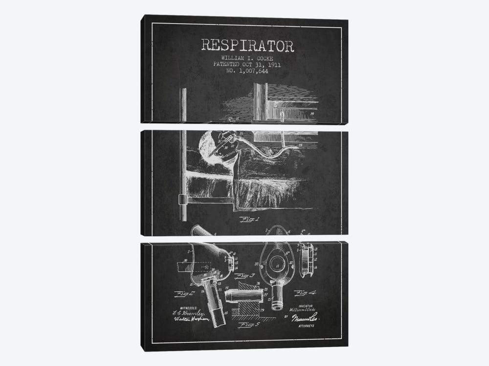 Respirator Charcoal Patent Blueprint 3-piece Canvas Wall Art