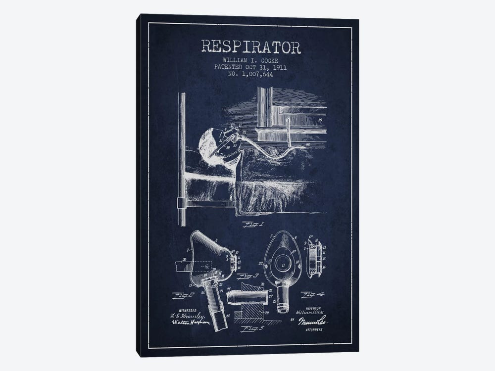Respirator Navy Blue Patent Blueprint by Aged Pixel 1-piece Canvas Artwork