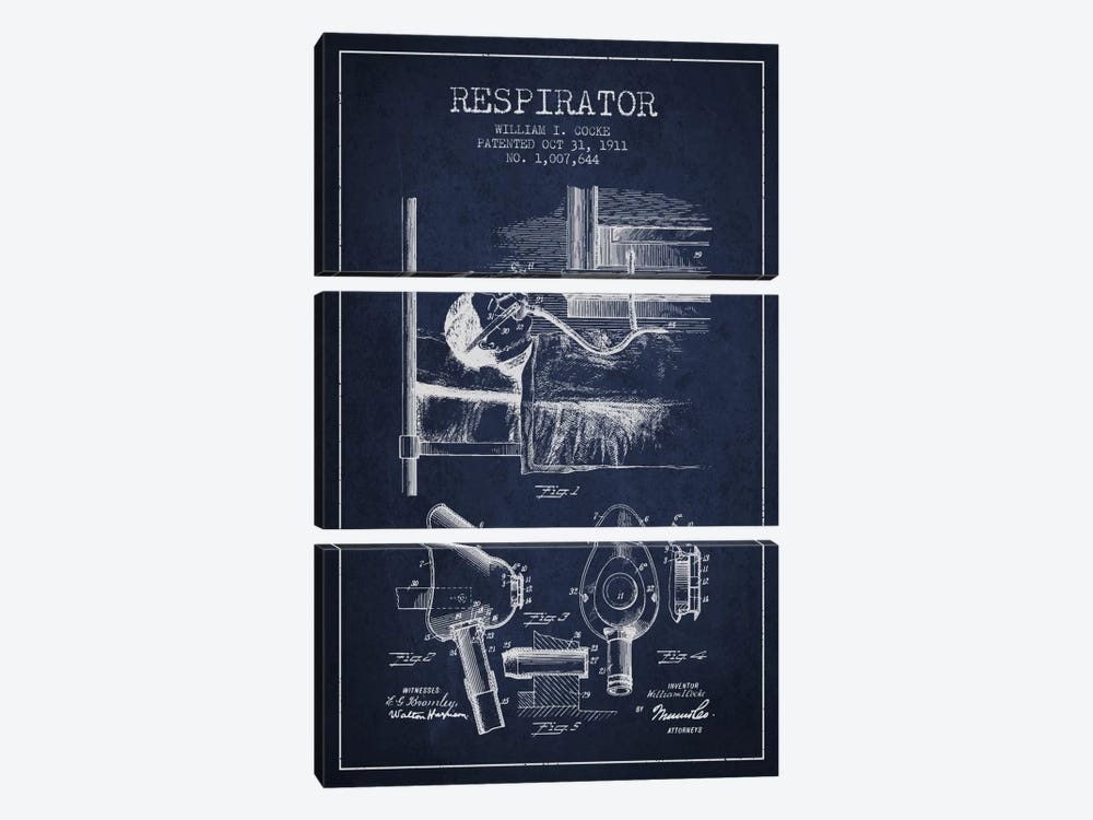 Respirator Navy Blue Patent Blueprint by Aged Pixel 3-piece Canvas Art