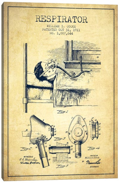 Respirator Vintage Patent Blueprint Canvas Art Print