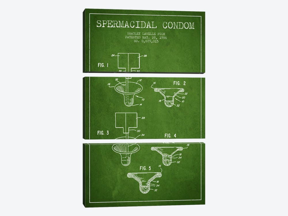 Spermacidal Condom Green Patent Blueprint by Aged Pixel 3-piece Canvas Art Print