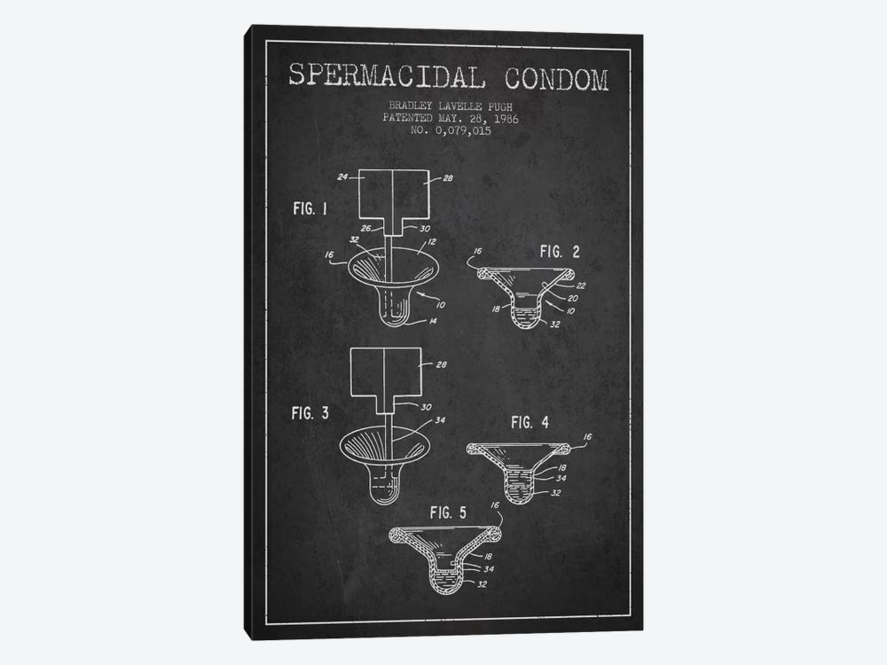 Spermacidal Condom Charcoal Patent Blueprint by Aged Pixel 1-piece Canvas Art