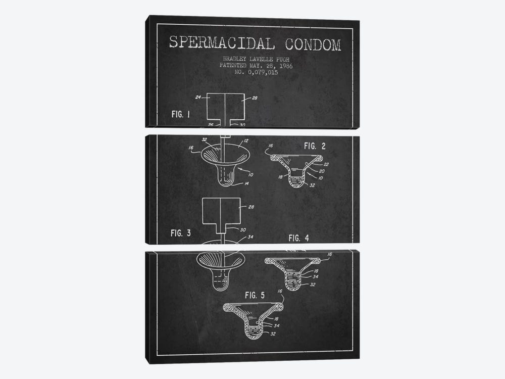 Spermacidal Condom Charcoal Patent Blueprint by Aged Pixel 3-piece Canvas Art