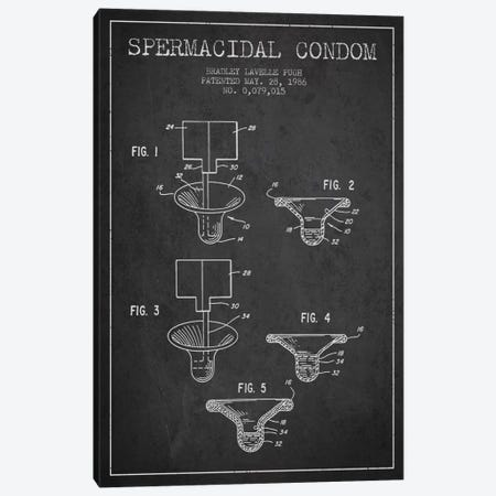 Spermacidal Condom Charcoal Patent Blueprint Canvas Print #ADP1986} by Aged Pixel Canvas Art
