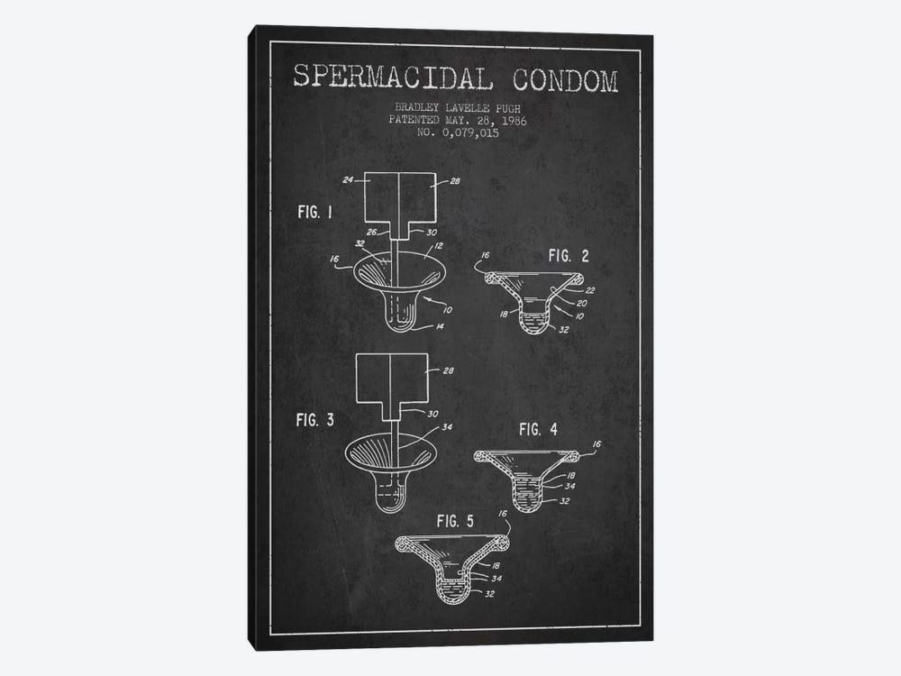 Spermacidal Condom Charcoal Patent Blueprint by Aged Pixel 1-piece Canvas Art