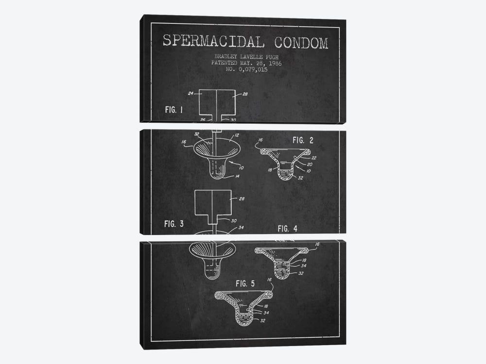 Spermacidal Condom Charcoal Patent Blueprint by Aged Pixel 3-piece Canvas Art