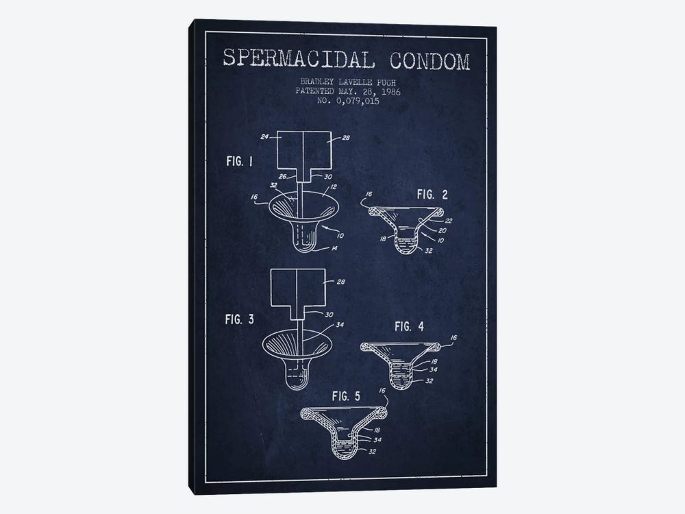Spermacidal Condom Navy Blue Patent Blueprint by Aged Pixel 1-piece Art Print