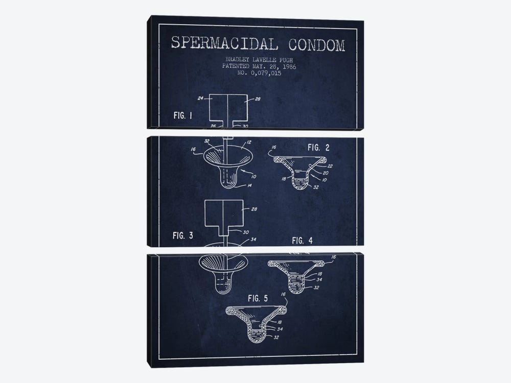 Spermacidal Condom Navy Blue Patent Blueprint by Aged Pixel 3-piece Canvas Print