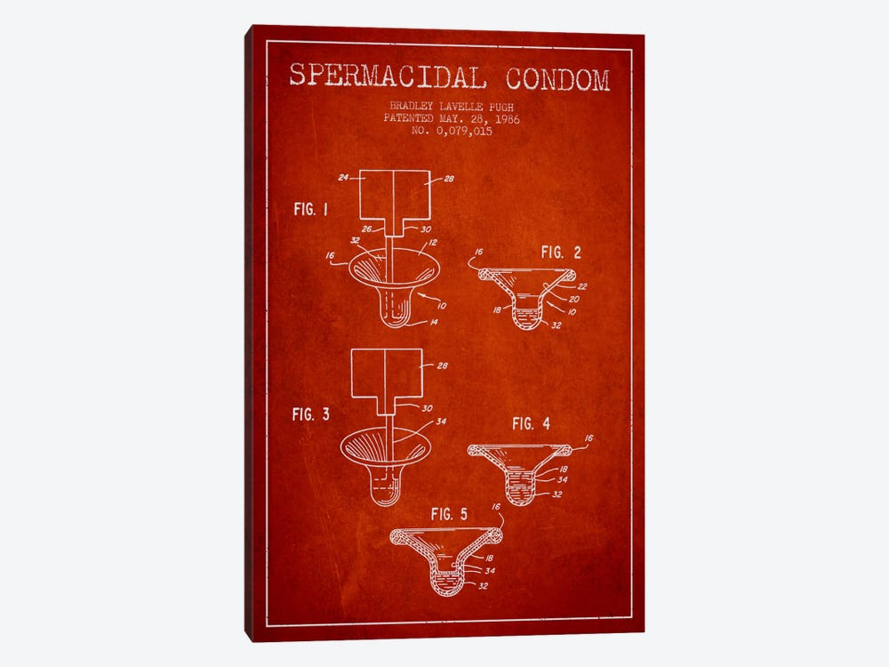 Spermacidal Condom Red Patent Blueprint by Aged Pixel 1-piece Canvas Artwork