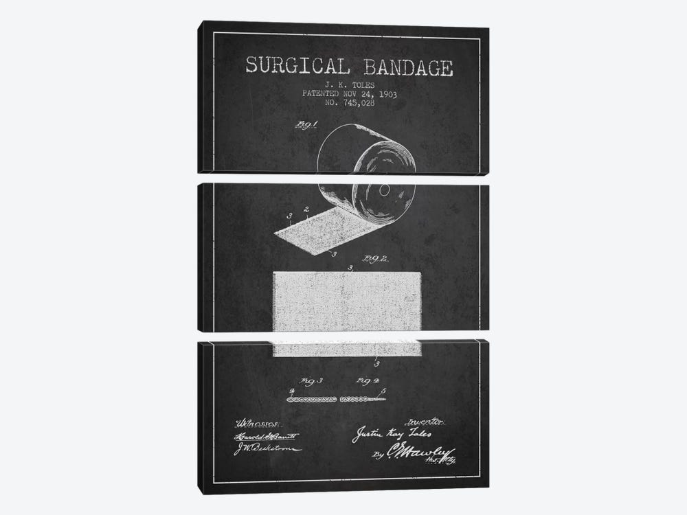 Surgical Bandage Charcoal Patent Blueprint by Aged Pixel 3-piece Canvas Art Print