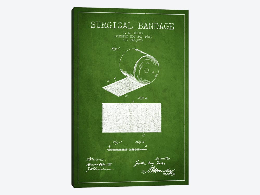 Surgical Bandage Green Patent Blueprint by Aged Pixel 1-piece Canvas Wall Art