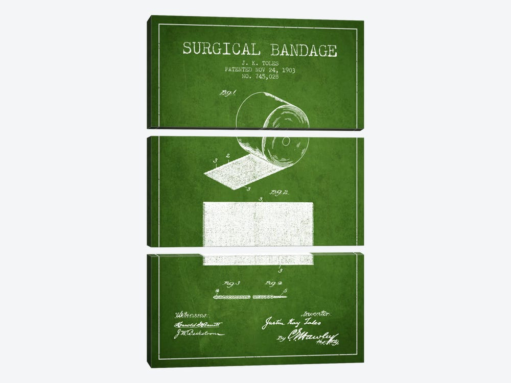 Surgical Bandage Green Patent Blueprint by Aged Pixel 3-piece Canvas Wall Art