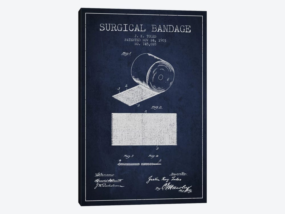 Surgical Bandage Navy Blue Patent Blueprint by Aged Pixel 1-piece Art Print