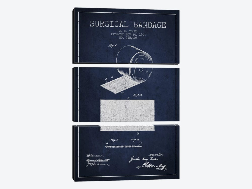 Surgical Bandage Navy Blue Patent Blueprint by Aged Pixel 3-piece Canvas Art Print