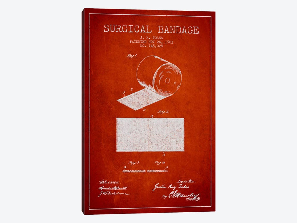 Surgical Bandage Red Patent Blueprint 1-piece Canvas Art