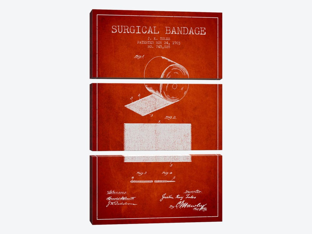 Surgical Bandage Red Patent Blueprint 3-piece Canvas Wall Art
