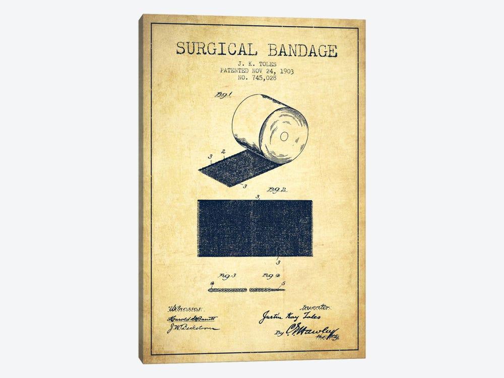 Surgical Bandage Vintage Patent Blueprint by Aged Pixel 1-piece Canvas Print