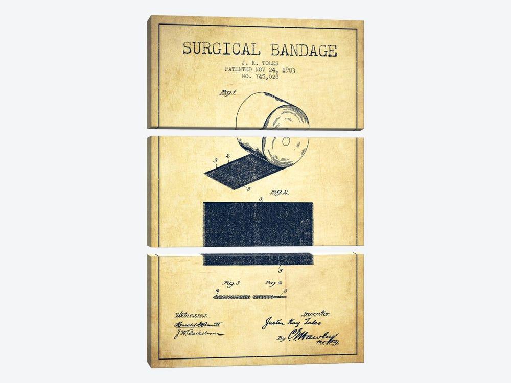 Surgical Bandage Vintage Patent Blueprint by Aged Pixel 3-piece Canvas Art Print