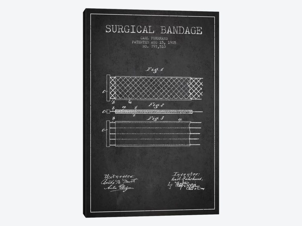 Surgical Bandage 2 Charcoal Patent Blueprint by Aged Pixel 1-piece Canvas Wall Art