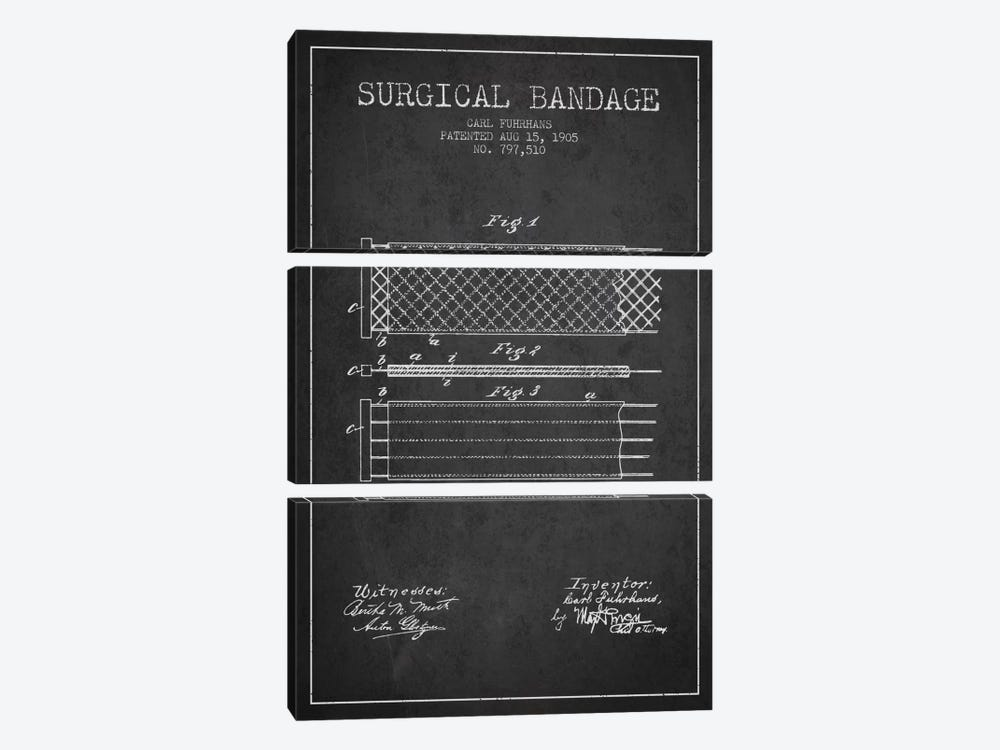 Surgical Bandage 2 Charcoal Patent Blueprint by Aged Pixel 3-piece Canvas Artwork