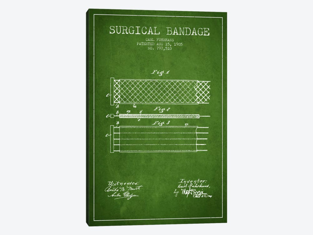Surgical Bandage 2 Green Patent Blueprint by Aged Pixel 1-piece Canvas Print