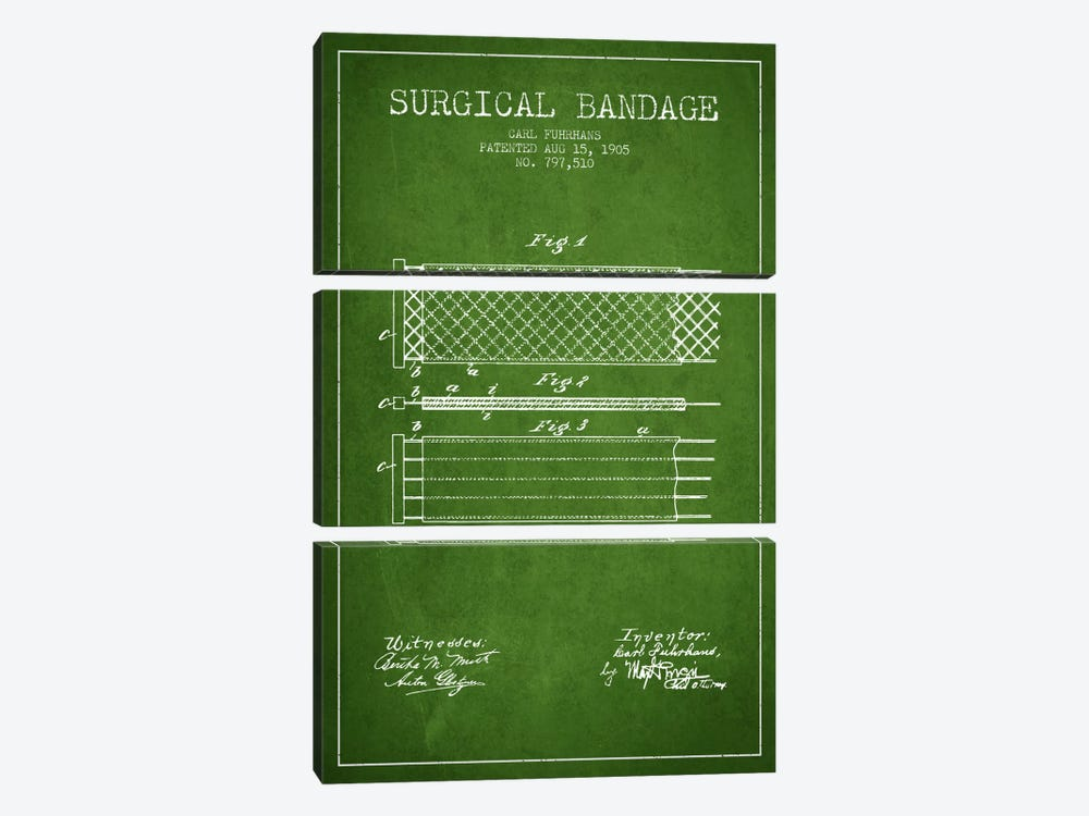 Surgical Bandage 2 Green Patent Blueprint by Aged Pixel 3-piece Canvas Art Print