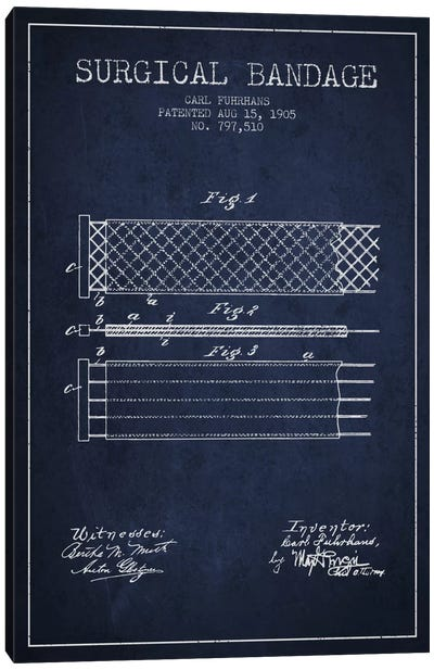 Surgical Bandage 2 Navy Blue Patent Blueprint Canvas Art Print