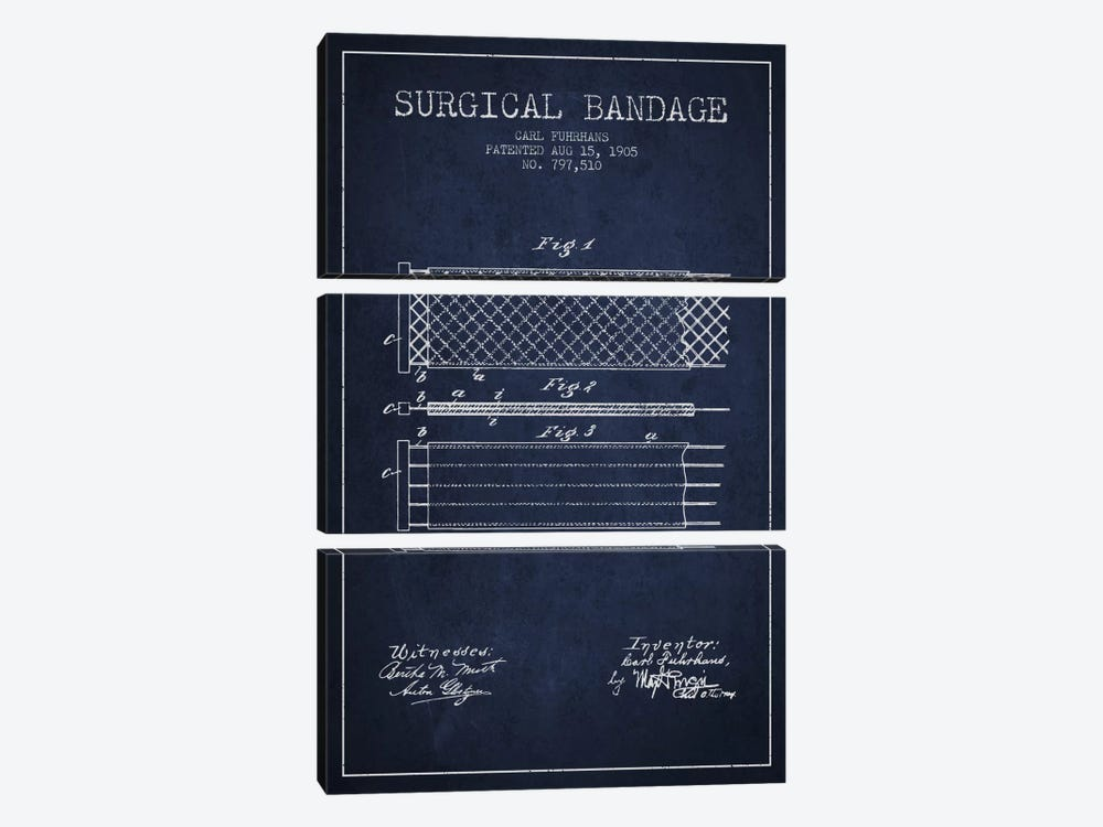 Surgical Bandage 2 Navy Blue Patent Blueprint by Aged Pixel 3-piece Canvas Artwork