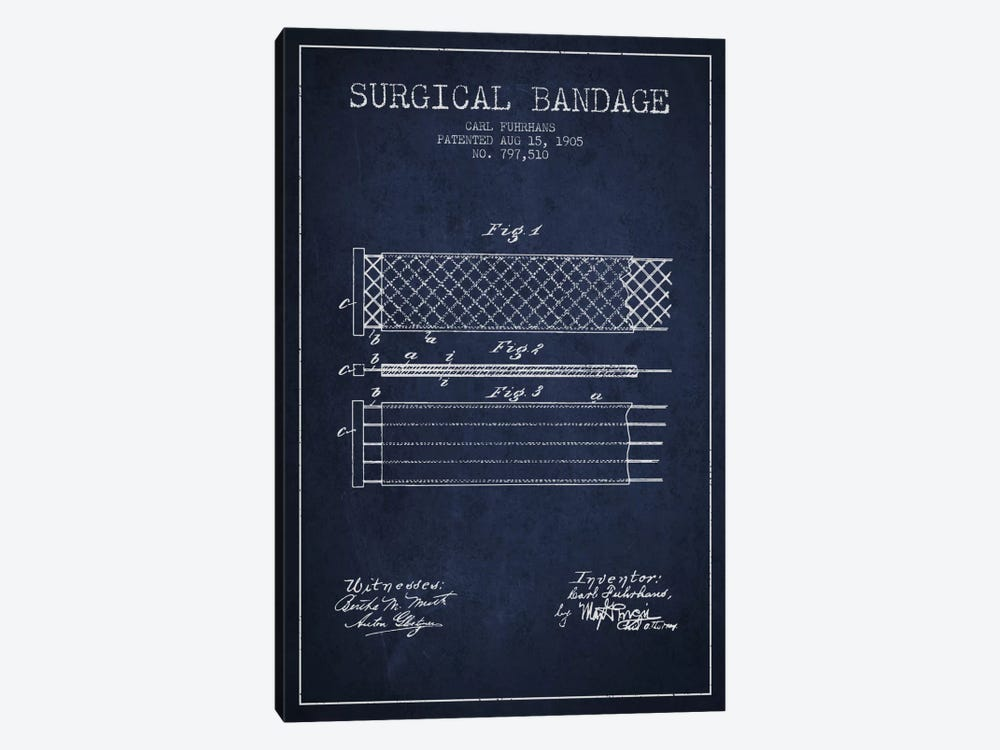 Surgical Bandage 2 Navy Blue Patent Blueprint by Aged Pixel 1-piece Canvas Wall Art