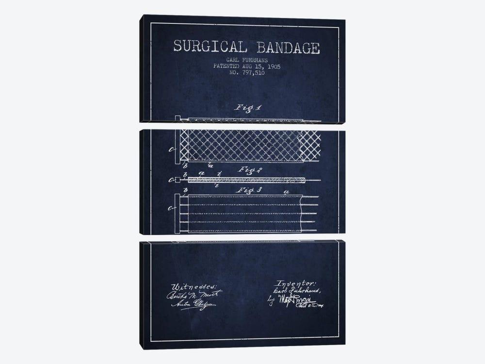Surgical Bandage 2 Navy Blue Patent Blueprint by Aged Pixel 3-piece Canvas Artwork