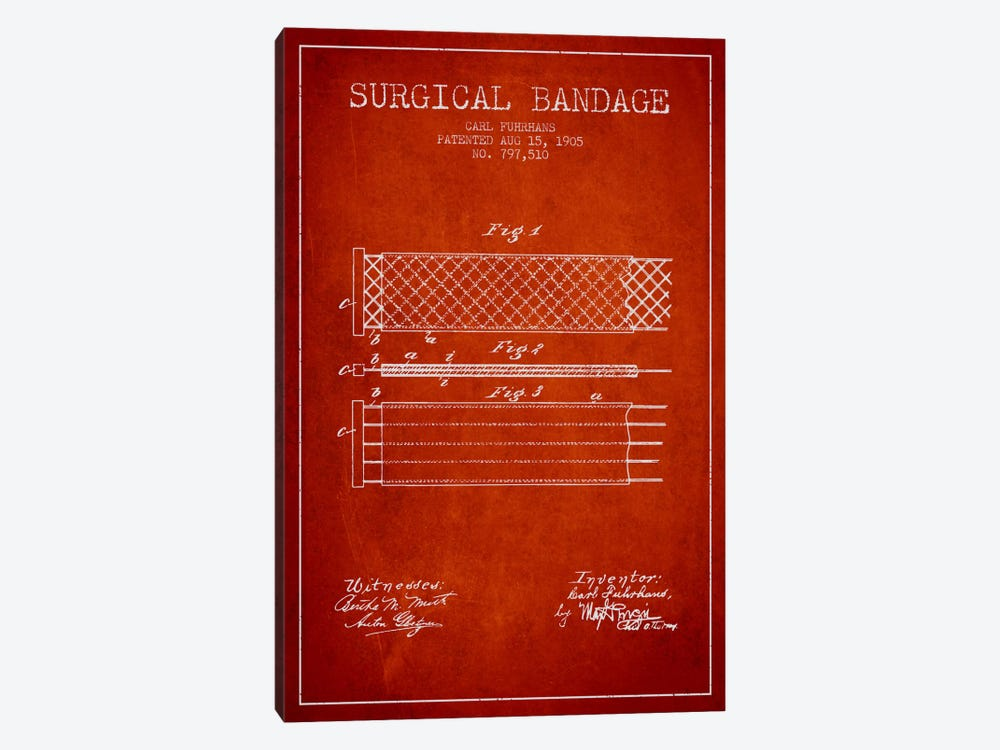 Surgical Bandage 2 Red Patent Blueprint by Aged Pixel 1-piece Art Print