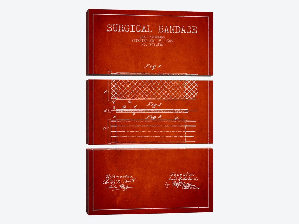 Surgical Bandage 2 Red Patent Blueprint by Aged Pixel 3-piece Canvas Print